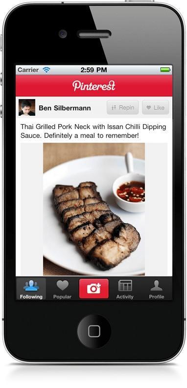 Pinterest for iphone  برنامج مشاركة الصور بنترست